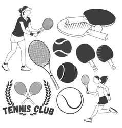 Set of tennis sport labels in vintage style vector