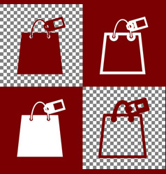 Shopping bag sign with tag bordo and vector