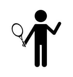 Silhouette character player tennis and racket vector