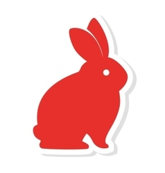 Silhouette red rabbit icon vector