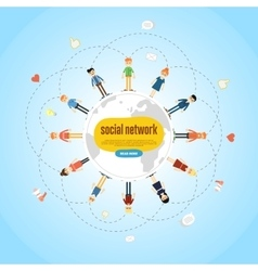 Social network banner with connected icons vector