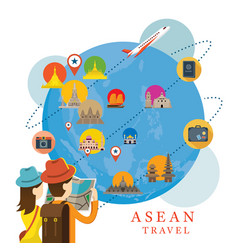Traveller with globe and southeast asia map and vector