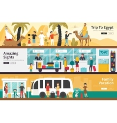Trip To Egypt Amazing Sights Family Vacation flat vector image vector image