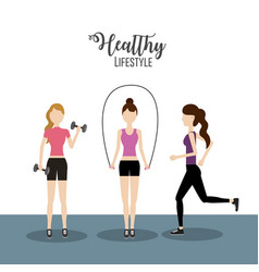 Women doing exercise to healthy lifestyle vector