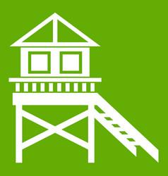 wooden stilt house icon green vector image