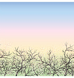 Blooming trees and blue sky vector