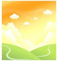 Green mountain sky vector