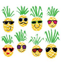 Set of pineapples like humans smiling pineapple vector
