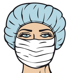 woman doctor in surgical mask vector image