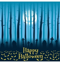 Halloween cemetery in moonlight vector