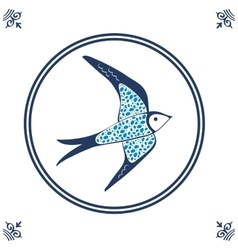 Dutch blue tile with swallow vector