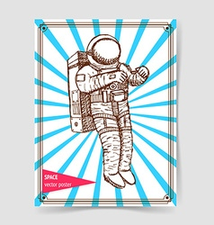 Sketch asronaut in vintage style vector