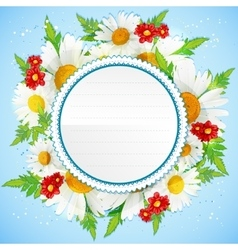Floral decorative card with white chamomiles vector