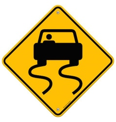 Yellow wet road sign vector