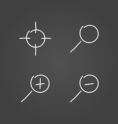 Zoom set icons draw effect vector