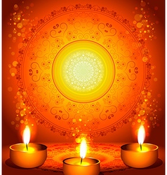 Diwali festival design with candles vector