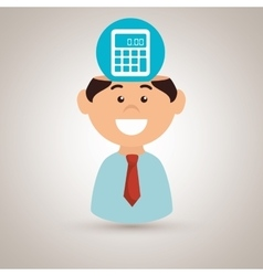 Man and calculator isolated icon design vector