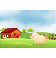 A pig in the farm with a wooden house at the back vector