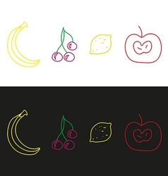 Apple cherry lemon and banana fruits vector