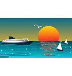 Background With Ships At Sunset vector image