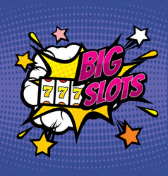 big slots retro casino gambling background vector image