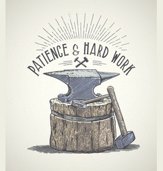 Blacksmiths anvil and inscription in graphic vector