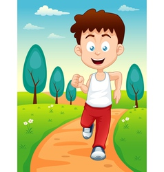 Boy jogging in park vector