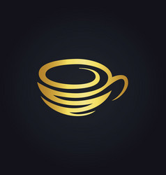 Coffee cup gold logo vector