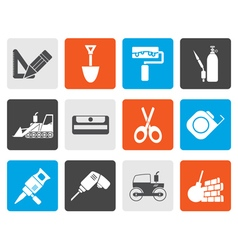 Flat building and construction icons vector