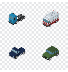 Isometric automobile set of suv armored truck vector