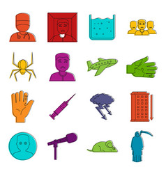 Phobia symbols icons doodle set vector