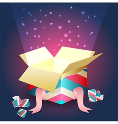 Radiant light coming out from an open gift box vector image vector image
