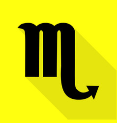 Scorpio sign black icon with flat vector