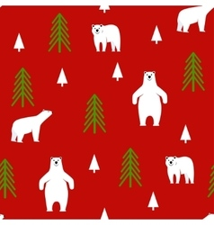 Seamless pattern polar bear on a red background vector
