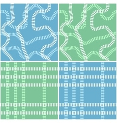 Seamless railroad background set vector image vector image