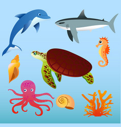 set of sea animals on light vector image