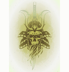 Skull in the samurai helmet vector