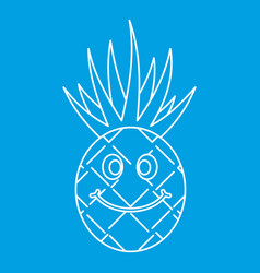 Smiling pineapple icon outline vector