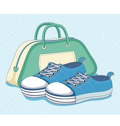 Sneakers shoes and bag vector