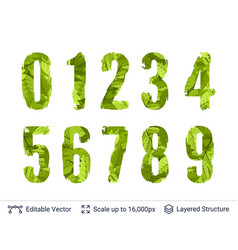 Spring green bright numbers set vector