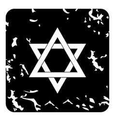 Star of david icon grunge style vector