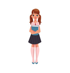 student girl with ponytails in school uniform vector image