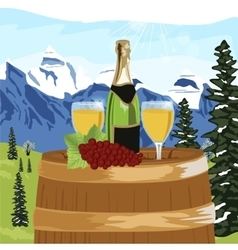 Summer mountain landscape with bottle of champagne vector image vector image