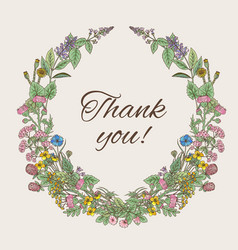 thank you card inscription inside the wreath of vector image vector image
