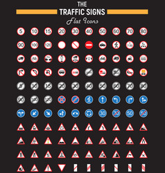 Traffic signs flat icon set road symbols vector