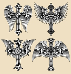 winged cross set vector image vector image