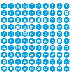 100 pensil icons set blue vector
