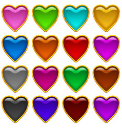 Colorful icons hearts set vector