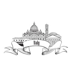 Italy architectural sign travel italy label vector