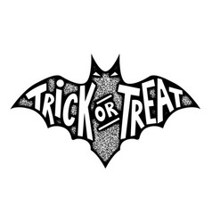 Trick or treat bat silhouette isolated on white vector
